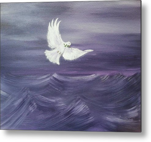 Dove Metal Print featuring the painting Peace Amidst The Storm by Lana Belanger