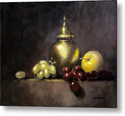 Still Life Metal Print featuring the painting Pot And Fruit by Roger Lundskow