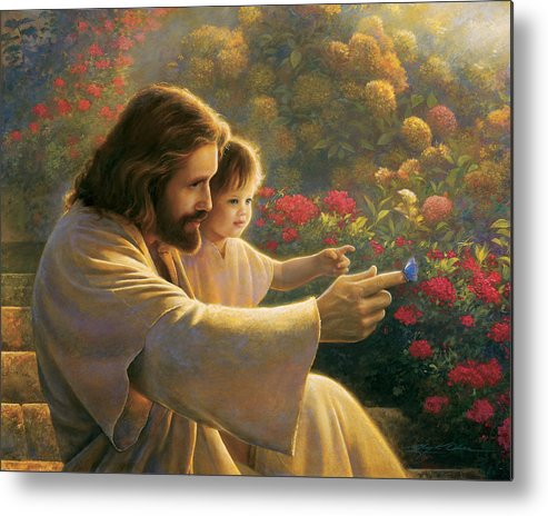 Jesus Metal Print featuring the painting Precious In His Sight by Greg Olsen