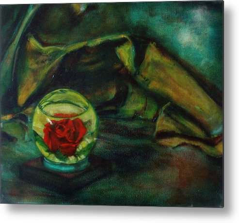 Still Life Metal Print featuring the painting Preserved Rose . . Draped Canvas by Sean Connolly