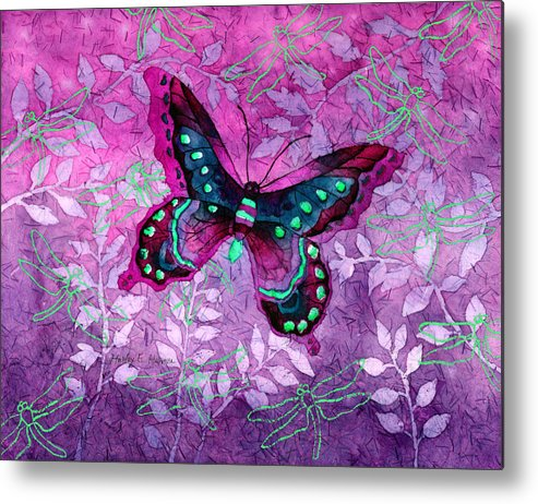 Butterfly Metal Print featuring the painting Purple Butterfly by Hailey E Herrera