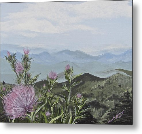 Blue Ridge Mountains Metal Print featuring the painting Purple Thistle Along The Blue Ridge by Michelle Young