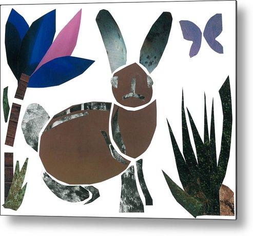 Rabbit Metal Print featuring the mixed media Rabbit by Earl ContehMorgan