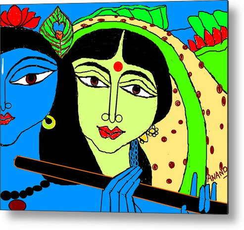 Radha Krishna Metal Print featuring the digital art Radha Krishna-3 by Anand Swaroop Manchiraju