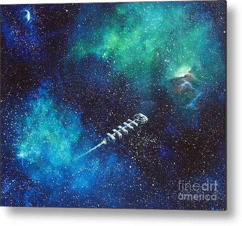 Spacescape Metal Print featuring the painting Reaching Out by Murphy Elliott
