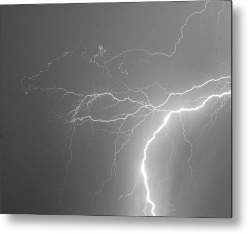 Lightning Metal Print featuring the photograph Reaching Out Touching Me Touching You Bw by James BO Insogna