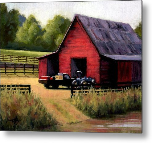 Barn Metal Print featuring the painting Red Barn In Leiper's Fork Tennessee by Janet King
