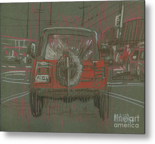 Jeep Metal Print featuring the drawing Red Jeep by Donald Maier