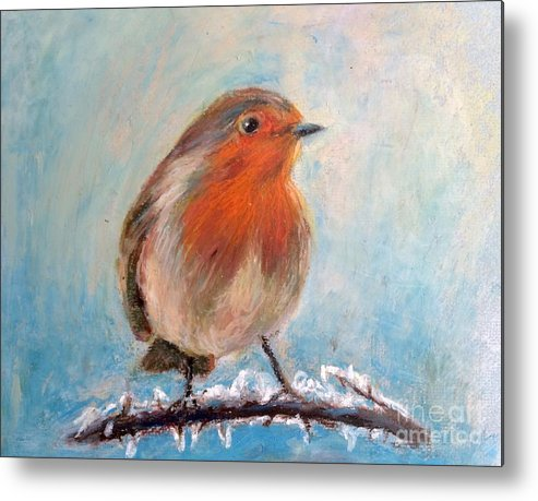 Red Bird In Snow Metal Print featuring the painting Red Singer by Jieming Wang