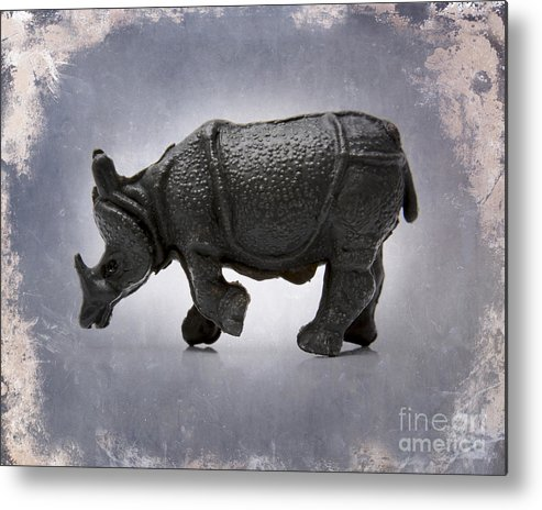 Animal Representation  Auto Post Production Filter  Color Image  Craft  Figurine  France  Gray Background  Horizontal  No People  Photography  Rhinoceros  Single Object  Studio Shot  Textured Effect  Toy Animal  Wildlife Metal Print featuring the photograph Rhinoceros by Bernard Jaubert