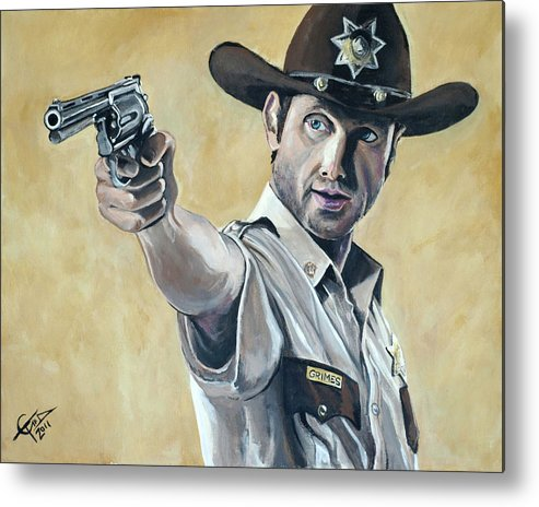 The Walking Dead Metal Print featuring the painting Rick Grimes by Tom Carlton