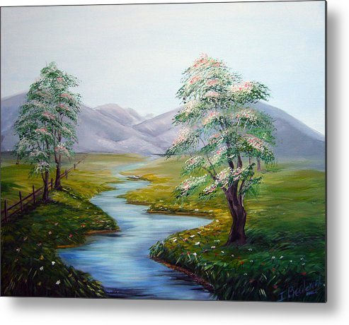 River Metal Print featuring the painting River In A Fields by Inna Bredereck