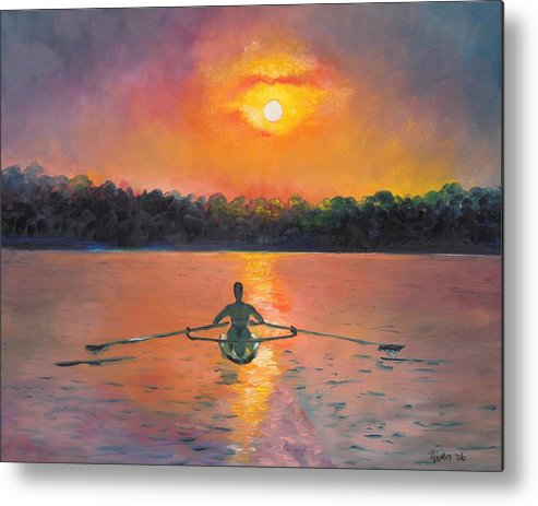Rowing Metal Print featuring the painting Rowing Away by Eve Wheeler