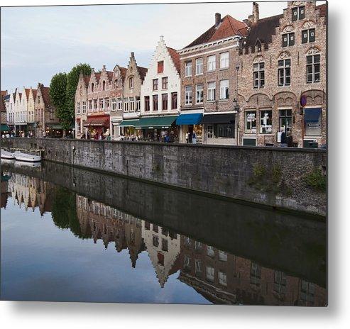Rozenhoedkaai Bruges Metal Print featuring the photograph Rozenhoedkaai Bruges by Phyllis Taylor