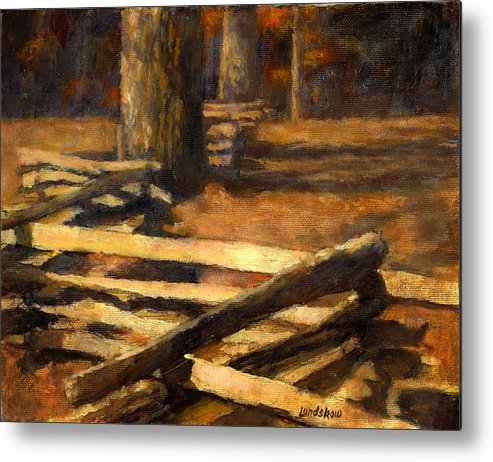 Rustic Log Fence Metal Print featuring the painting Rustic Fence by Roger Lundskow