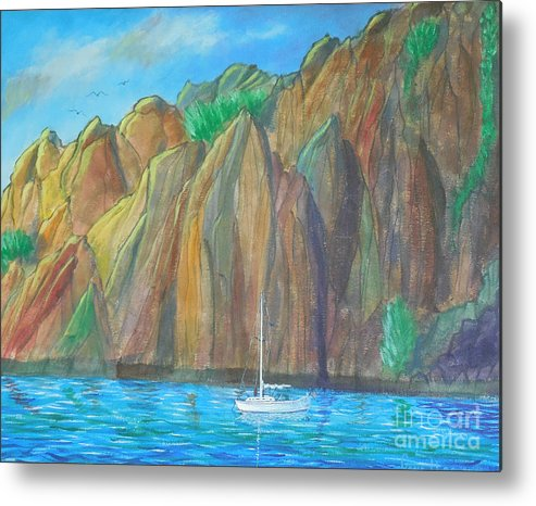 Boat Metal Print featuring the painting Safe Harbor by Gene Huebner