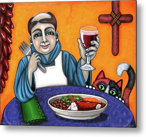 San Pascual Metal Print featuring the painting San Pascual Cheers by Victoria De Almeida