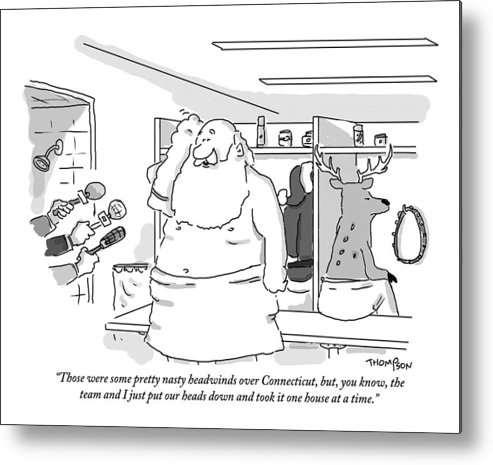 Christmas Metal Print featuring the drawing Santa Claus Is In A Locker Room Speaking by Mark Thompson