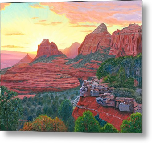 Schnebly Metal Print featuring the painting Schnebly Hill Sunset by Steve Simon