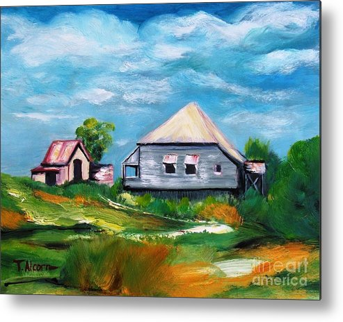 Houses Metal Print featuring the painting Sea Hill Houses - Sold by Therese Alcorn