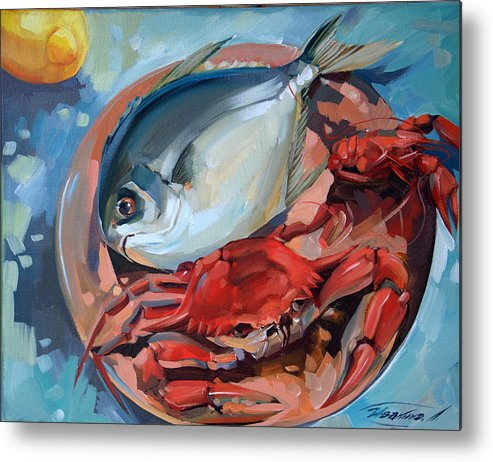Seafood Metal Print featuring the painting Seafood Still Life by Larisa Ivakina-Clevenger
