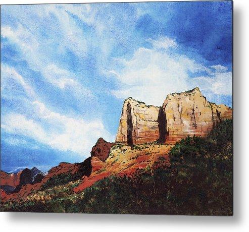Sedona Arizona Metal Print featuring the painting Sedona Mountains by Mary Palmer