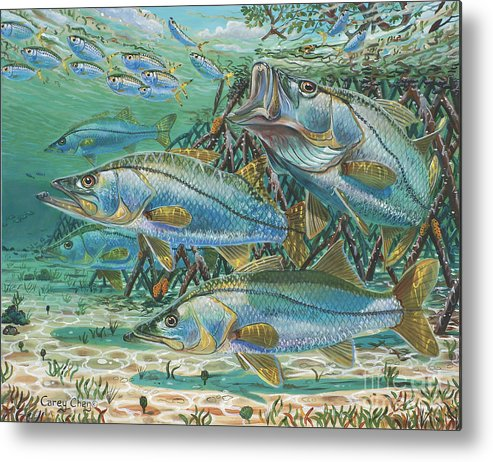 Snook Metal Print featuring the painting Snook Attack In0014 by Carey Chen