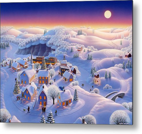 Winter Landscapes Metal Print featuring the painting Snow Covered Village by Robin Moline