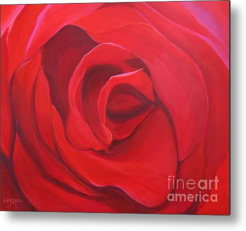 Rose In The Italian Countryside Metal Print featuring the painting So Red The Rose by Hunter Jay