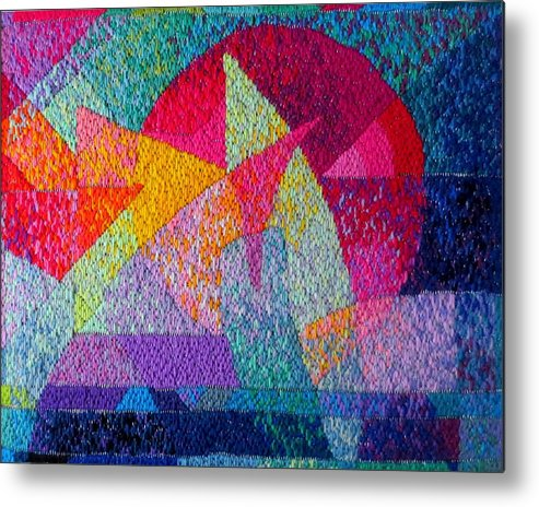 Abstract Expressionist Needlepoint Metal Print featuring the tapestry - textile Solar Tapestry by Diane Fine