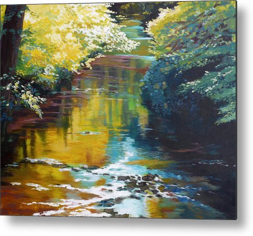 Creek Metal Print featuring the painting South Fork Silver Creek No. 3 by Melody Cleary