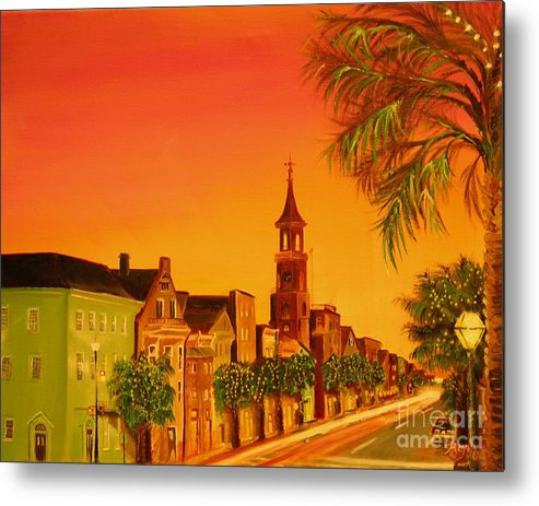 City Metal Print featuring the painting Southern Eve by Barbara Hayes