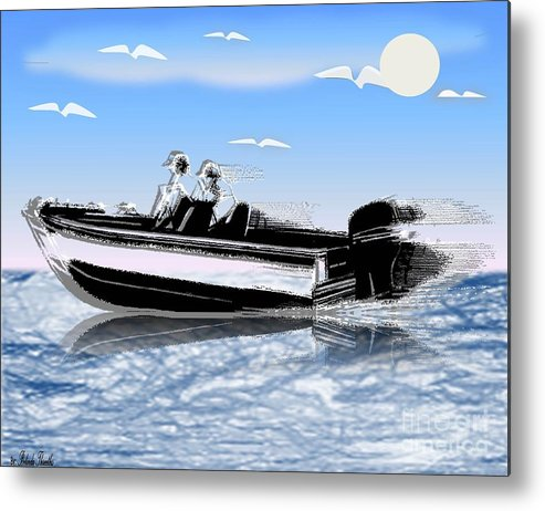 Outdoors Metal Print featuring the painting Speed Boating by Belinda Threeths