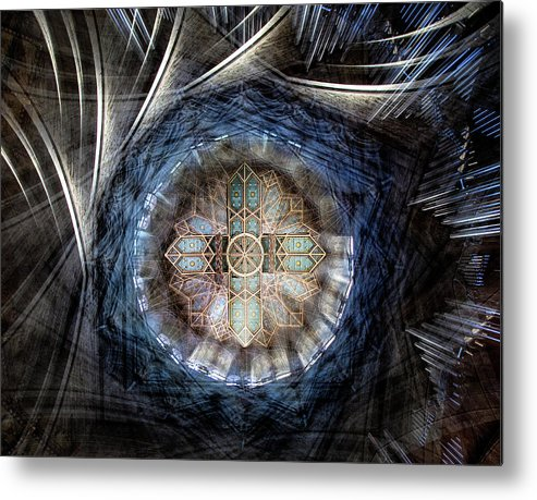 Cross Metal Print featuring the photograph St Davids Cathedral Roof by Simon Pearce