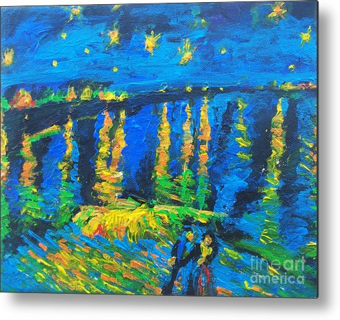 The Actor Metal Print featuring the painting Starry Night Bridge by Eric Schiabor