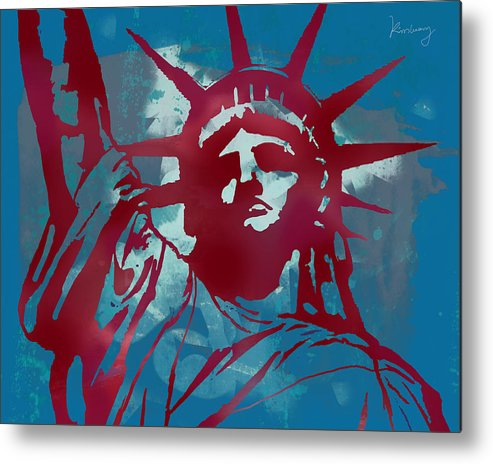 The Statue Of Liberty Is Open! Visitors Can Go Into The Pedestal Museum Metal Print featuring the drawing Statue Liberty - Pop Stylised Art Poster by Kim Wang