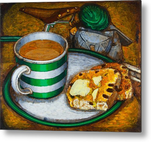 Tea Metal Print featuring the painting Still Life With Green Touring Bike by Mark Howard Jones