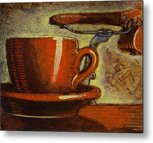 Coffee Metal Print featuring the painting Still Life With Racing Bike by Mark Jones