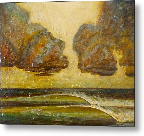 Waves Metal Print featuring the painting Storm Waves by Jason Kuncas