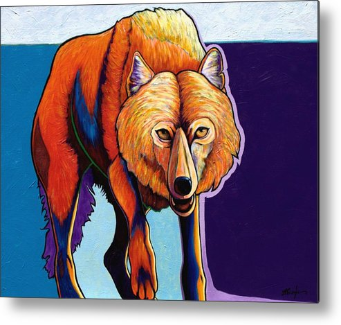 Contemporary Metal Print featuring the painting Strictly Business - Arctic Wolf by Joe Triano