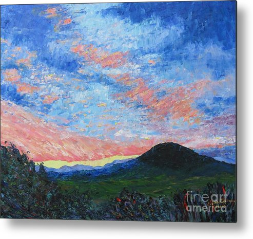 Landscape Metal Print featuring the painting Sun Setting Over Mole Hill - Sold by Judith Espinoza
