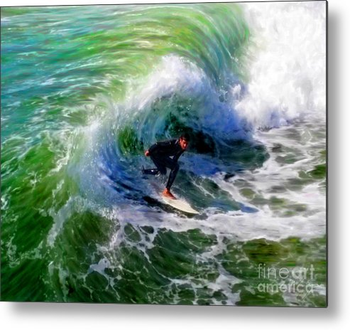 Surf 3 Off The Lip Metal Print featuring the mixed media Surf 3 Off The Lip by Glenn McNary