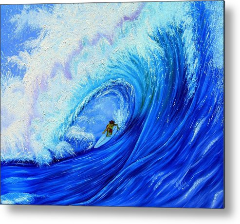 Surf Metal Print featuring the painting Surfing The Wild Wave by Kathern Welsh