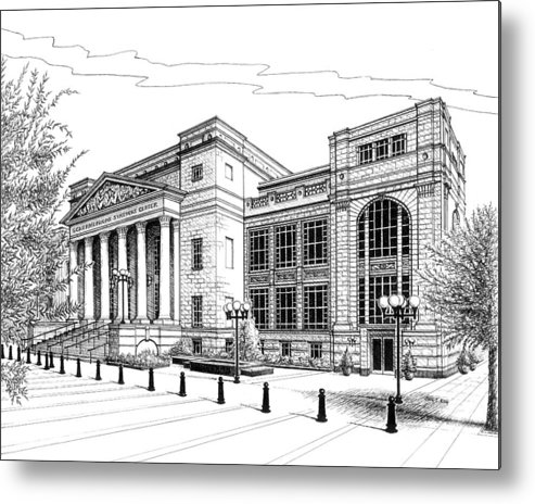 Architecture Metal Print featuring the drawing Symphony Center In Nashville Tennessee by Janet King