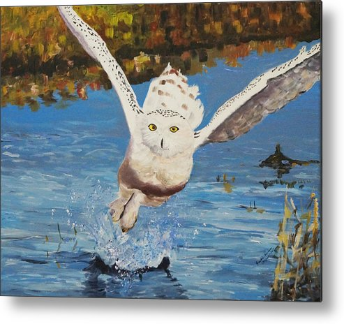 Owl Metal Print featuring the painting Take Off by Frankie Picasso
