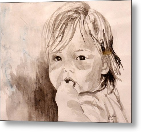 Child Metal Print featuring the painting Taylor -- What Pacifier? by Paula Day