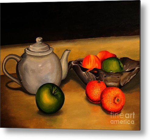 Teapot Metal Print featuring the painting Teapot With Some Fruit by Alisa Bogodarova