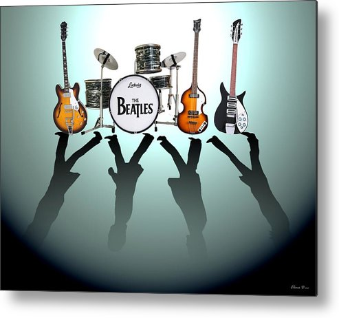 The Beatles Metal Print featuring the digital art The Beatles by Lena Day