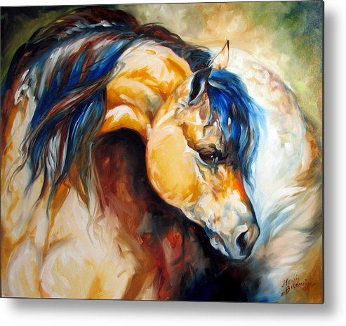 Horse Metal Print featuring the painting The Buckskin by Marcia Baldwin