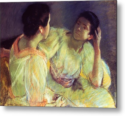 Belle Epoque; Female; Females; Friends; Listening; Friendship; Seated; Head In Hand; Impressionist; Advice; Care; Chatting; Confidante; Gossip; Discussion; Talking; Conversation Metal Print featuring the pastel The Conversation by Mary Stevenson Cassatt